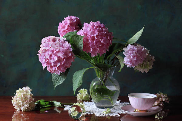 Table Photograph - Vase With Hortensia Flowers by Panga Natalie Ukraine