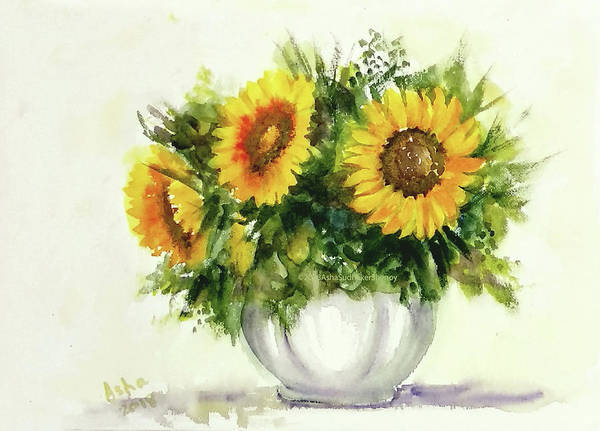 Wall Art - Painting - Vase With Three Sunflowers by Asha Sudhaker Shenoy