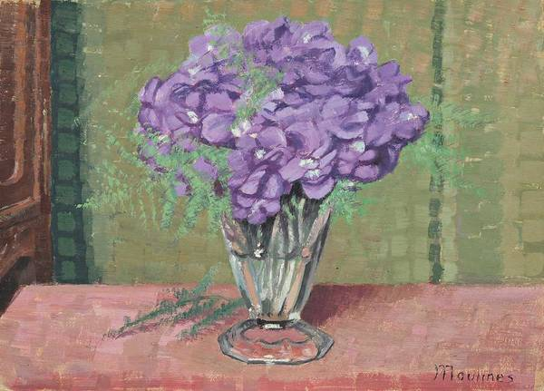 Wall Art - Painting - Vase With  Violettes By Ernest Moulines 1870-1942 by Ernest Moulines