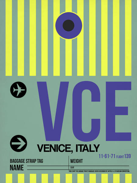 Wall Art - Digital Art - Vce Venice Luggage Tag I by Naxart Studio