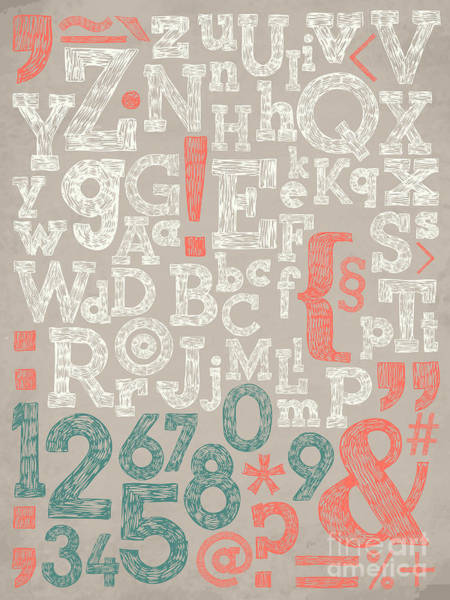 Note Wall Art - Digital Art - Vector Alphabet And General Typography by Mascha Tace
