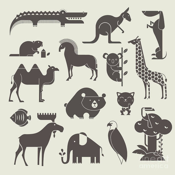 Wall Art - Digital Art - Vector Animals Set by Vector Pro
