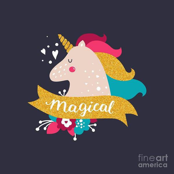 Magic Wall Art - Digital Art - Vector Baby Unicorn With Glitter. Kids by Tatishdesign