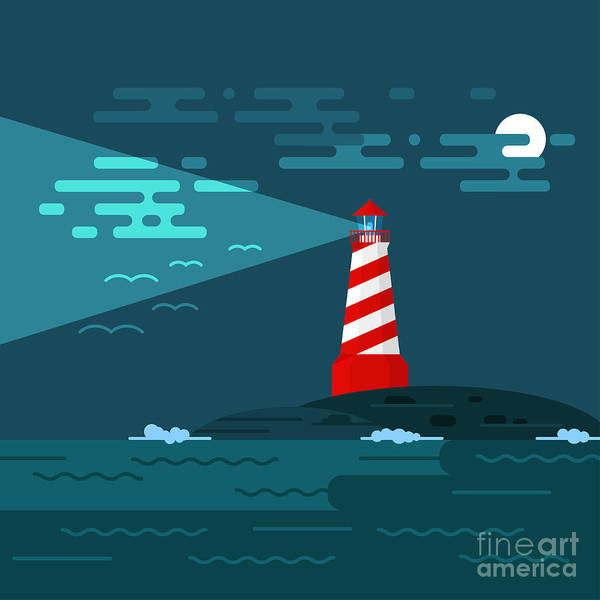 Wall Art - Digital Art - Vector Background With Lighthouse, Sea by Curiosity