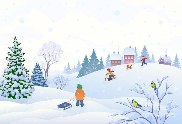 Wall Art - Digital Art - Vector Cartoon Illustration Of A Winter by Merggy