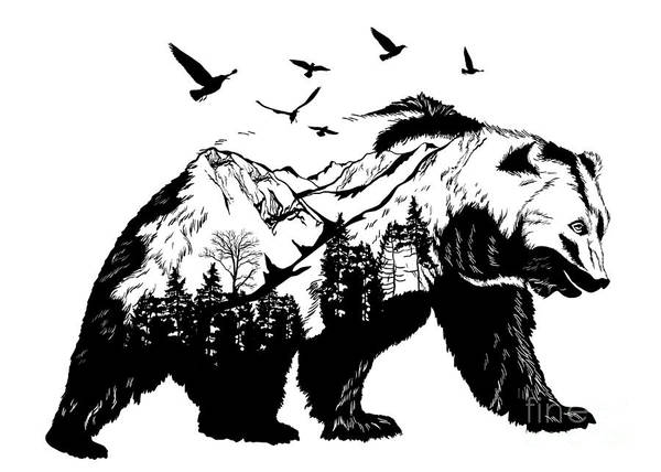 Wildlife Digital Art - Vector Double Exposure, Bear For Your by Mirifada