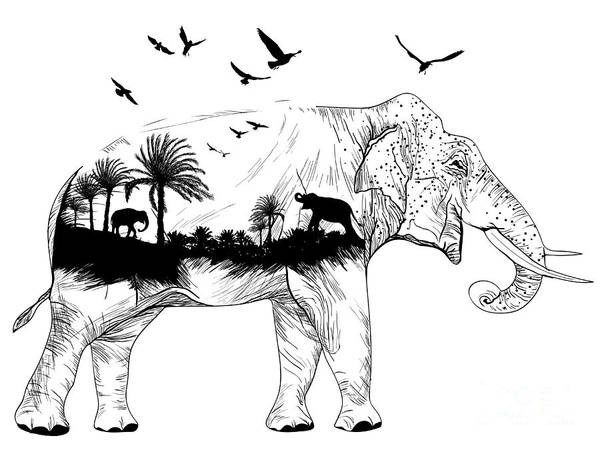 Wall Art - Digital Art - Vector Double Exposure, Elephant For by Mirifada