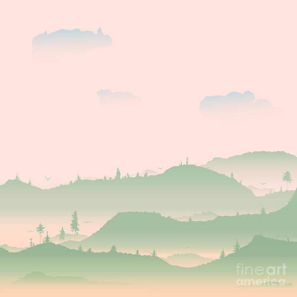 Flock Wall Art - Digital Art - Vector Evening Coniferous Forest Hills by Dariatri3