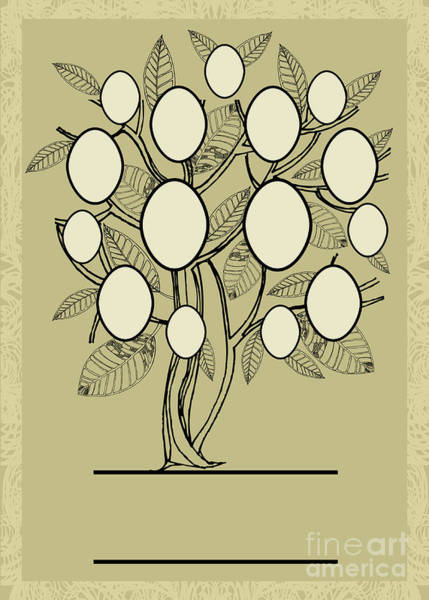 Stylized Wall Art - Digital Art - Vector Family Tree Design With Frames by Kynata