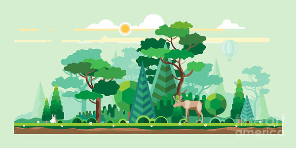 Pines Wall Art - Digital Art - Vector Flat Illustrations - Eco Style by Bukhavets Mikhail