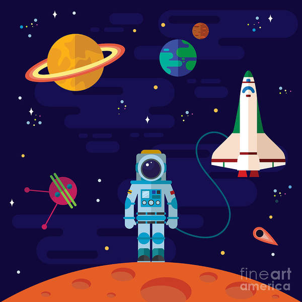 Astronaut Digital Art - Vector Flat Space Elements With by Inshpulya