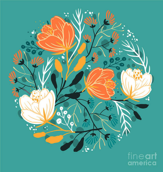 Herbal Wall Art - Digital Art - Vector Floral Illustration Of Blooming by Anna Paff