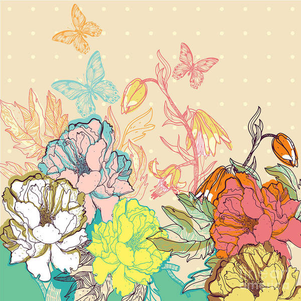 Wall Art - Digital Art - Vector Floral Illustration Of Colorful by Anna Paff