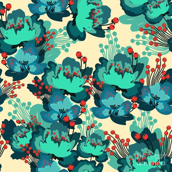 Blue Rose Digital Art - Vector Flower Pattern by Karinka Bu