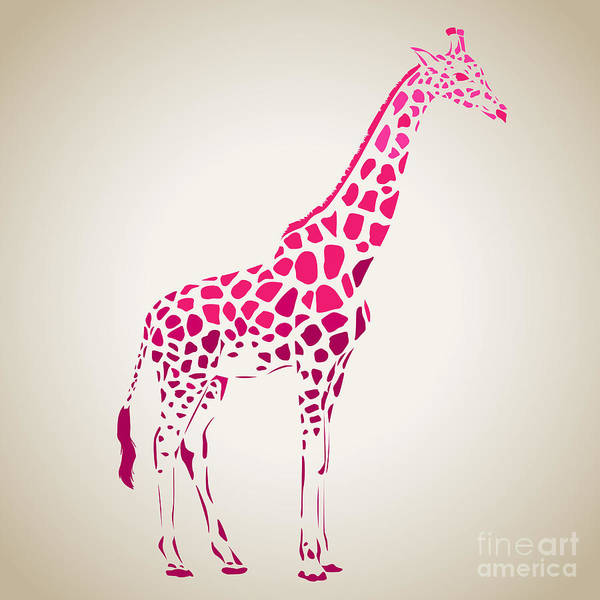 Wildlife Digital Art - Vector Giraffe Silhouette, Abstract by Oxanaart