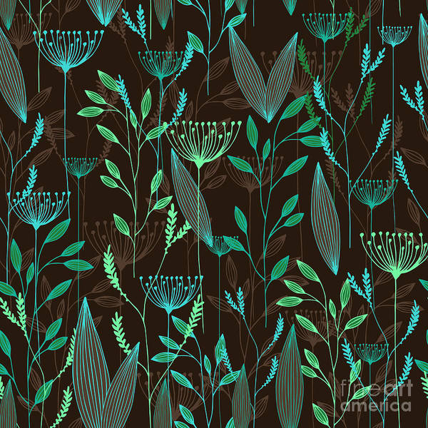 Wall Art - Digital Art - Vector Grass Seamless Pattern by Oxanaart