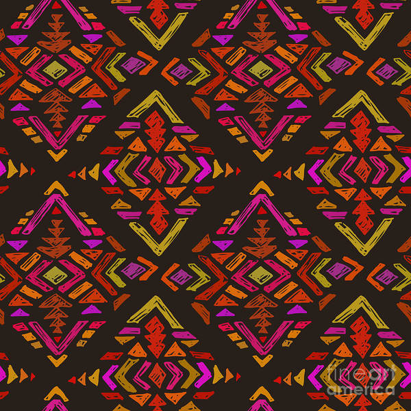 Wall Art - Digital Art - Vector Hand Drawn Ethnic Seamless by Nadezhda Molkentin