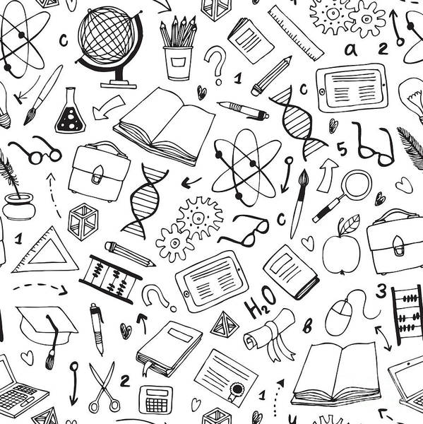 Science Education Wall Art - Digital Art - Vector Hand Drawn Seamless Pattern With by Dariaroozen