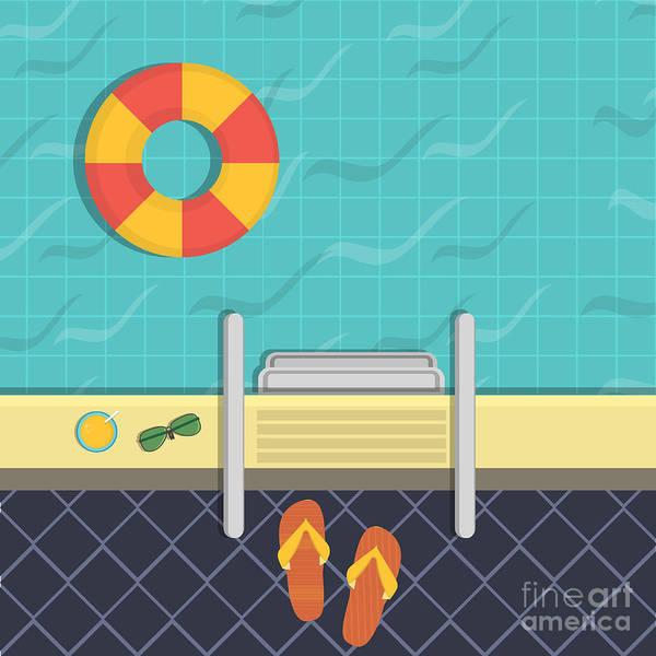 Wall Art - Digital Art - Vector Illustration - A Swimming Pool by Verkhozina Ekaterina
