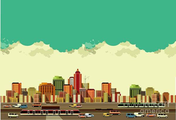 Office Digital Art - Vector Illustration Big City Panoramic by Marrishuanna