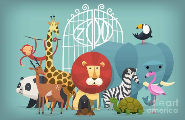 Wall Art - Digital Art - Vector Illustration Card With Animals by Yauhen Paleski