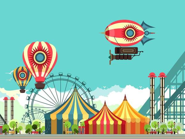 Wall Art - Digital Art - Vector Illustration Carnival Circus by Marrishuanna