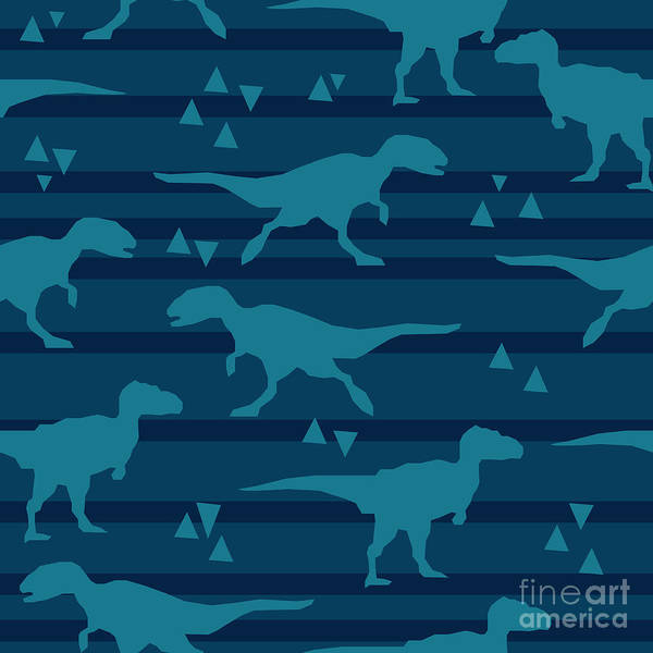 Wall Art - Digital Art - Vector, Illustration, Dinosaur by Alsu Gizzatullina