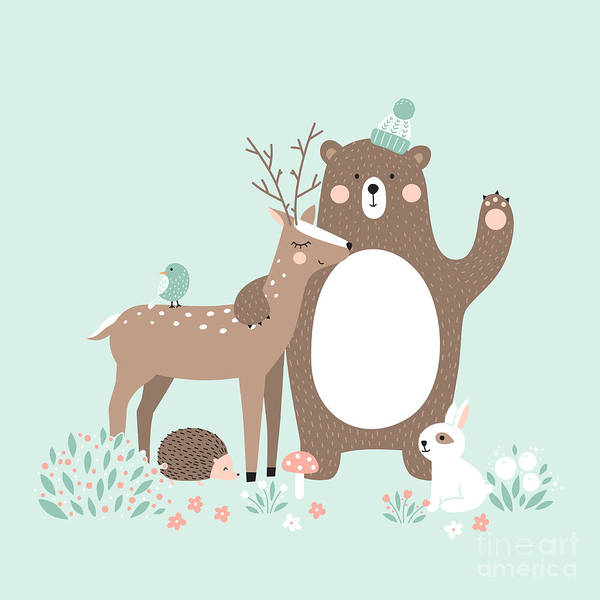 Wall Art - Digital Art - Vector Illustration, Forest Animals by Inna Moreva