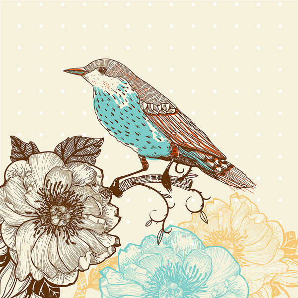 Wall Art - Digital Art - Vector Illustration Of A Bird And by Anna Paff