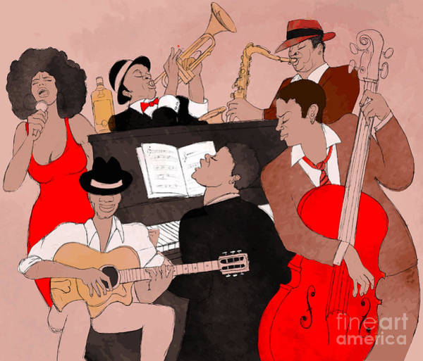 Wall Art - Digital Art - Vector Illustration Of A Jazz Band by Isaxar