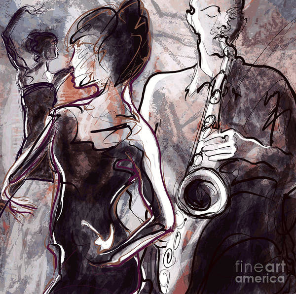 Wall Art - Digital Art - Vector Illustration Of A Jazz Band With by Isaxar