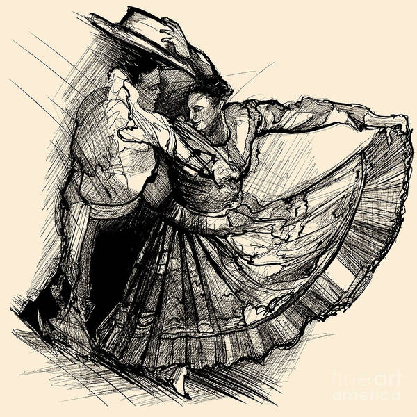 Dancing Digital Art - Vector Illustration Of A Latino Dance by Isaxar