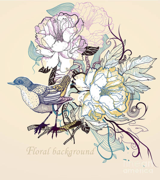 Peonies Wall Art - Digital Art - Vector Illustration Of A Little Bird by Anna Paff