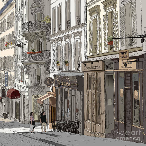 Wall Art - Digital Art - Vector Illustration Of A Street In by Isaxar
