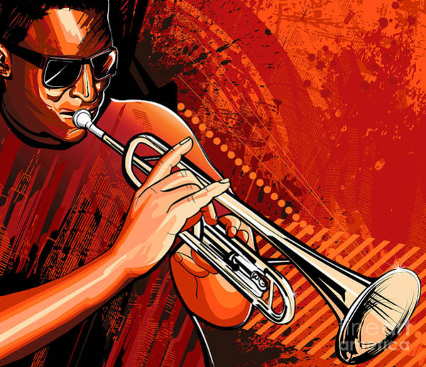 Wall Art - Digital Art - Vector Illustration Of A Trumpet Player by Isaxar
