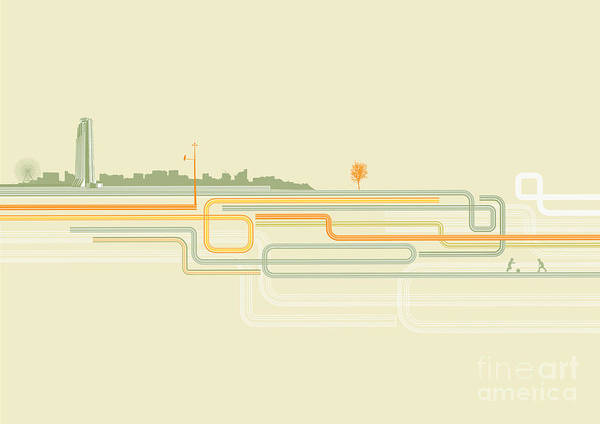 Panoramic Digital Art - Vector Illustration Of Color Lines With by Pixel Embargo