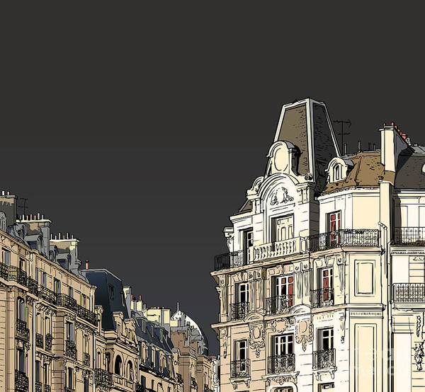 Wall Art - Digital Art - Vector Illustration Of Facades In Paris by Isaxar