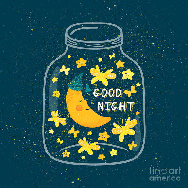 Magic Wall Art - Digital Art - Vector Illustration Of Jar With Sleepig by Beskova Ekaterina