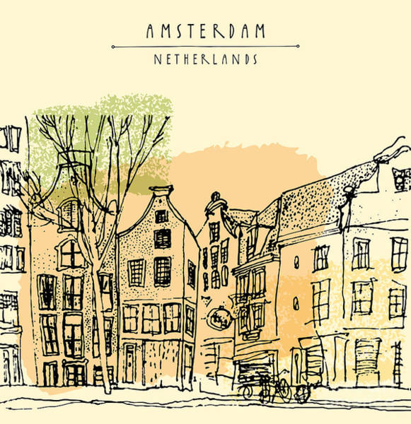 Holland Digital Art - Vector Illustration Of Old Houses With by Babayuka