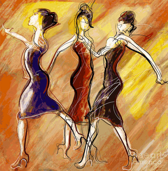 Event Wall Art - Digital Art - Vector Illustration Of Women Dancing by Isaxar