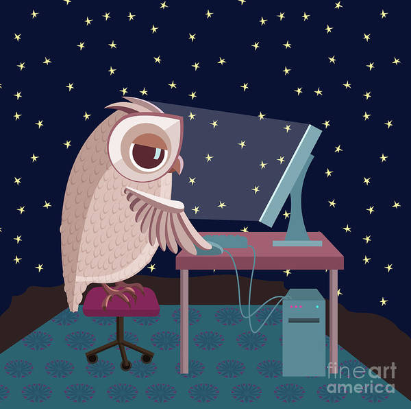 Late Wall Art - Digital Art - Vector Illustration. Owl Working On The by Satika