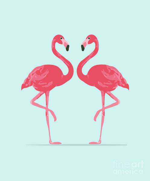 Wall Art - Digital Art - Vector Illustration Pink Flamingo by Daryna Khozieieva