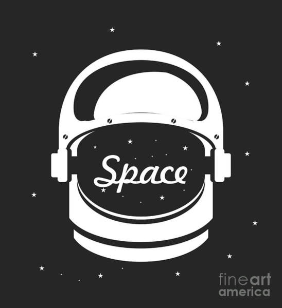 Cosmonaut Wall Art - Digital Art - Vector Illustration Poster Space Helmet by Marrishuanna