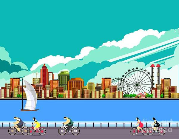 Wall Art - Digital Art - Vector Illustration Promenade Ride A by Marrishuanna