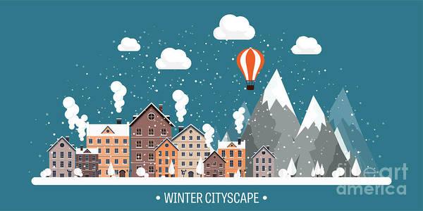 Vector Illustration. Winter Urban Art Print
