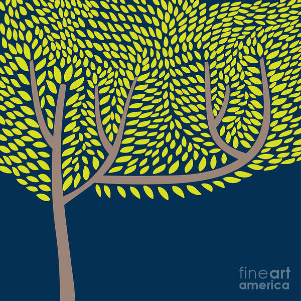 Stylized Wall Art - Digital Art - Vector Illustration With Abstract Tree by Vareennik