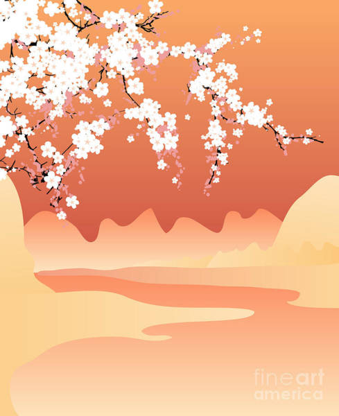 Wall Art - Digital Art - Vector Japan Background by Buketgvozdey