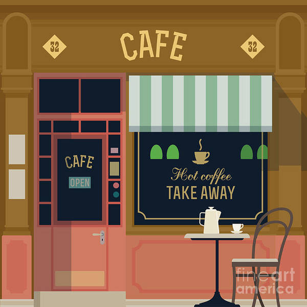 Wall Art - Digital Art - Vector Local Cafe Detailed Facade by Mascha Tace