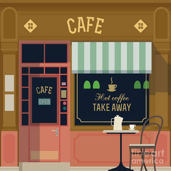 Estate Digital Art - Vector Local Cafe Detailed Facade by Mascha Tace