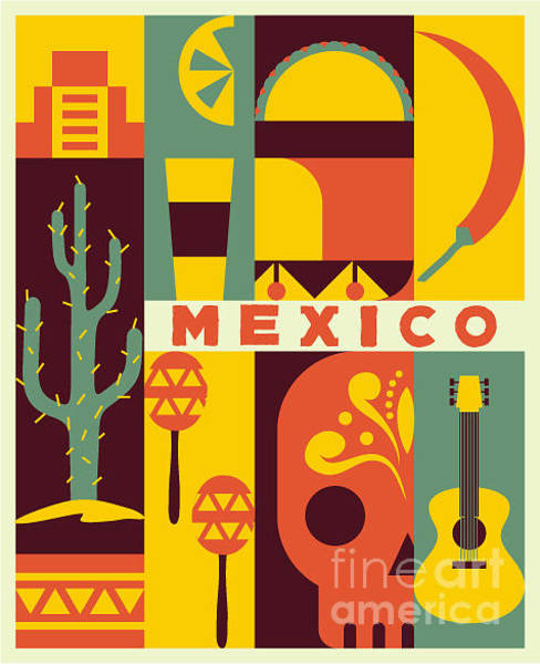 Wall Art - Digital Art - Vector Mexico Background by Flatcat